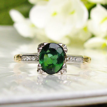 Vintage Green Tourmaline Diamond Engagement Ring 14K Gold Elegant Diamond Wedding Ring May Birthstone Ring!