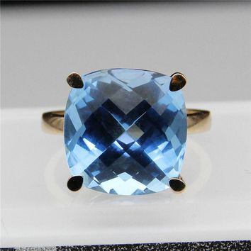 10ct Topaz Cushion Cut 14K Rose Gold Blue Gemstone Ring Solitaire Wedding Cocktail Ring (CFR0125-NG10CT)
