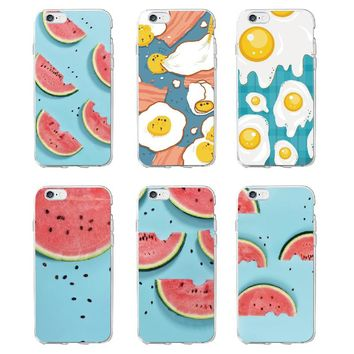 TOMOCOMO Food Fruit Watermelon Egg Lemon Banana Cactus Strawberry Sushi Phone Case fundas For iPhone5 6 6Plus 7 7Plus 8 8Plus X