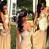 Cutaway Side  Sparkling Mermaid Prom Dresses Fitted Gold Sweetheart Sleeveless Zipper Back Beaded Sequins Evening Gowns Sweep Train