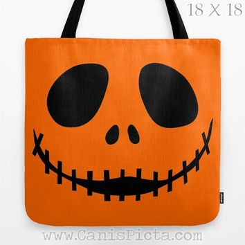 Jack Skellington Nightmare Before Christmas Graphic Print Tote Bag Movie Trick or Treat Halloween Orange Black Smile Autumn Fall Face Fun