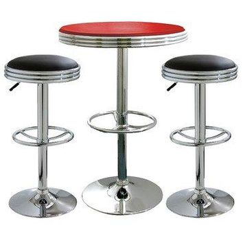 AmeriHome Kitchen Bar Game Room 3 Piece Soda Fountain Style Bar Set Black Red