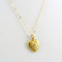 Antique 10K Gold Diamond Heart Charm Pendant Necklace Edwardian Era Petite Engraved Yellow Gold Fine Jewelry