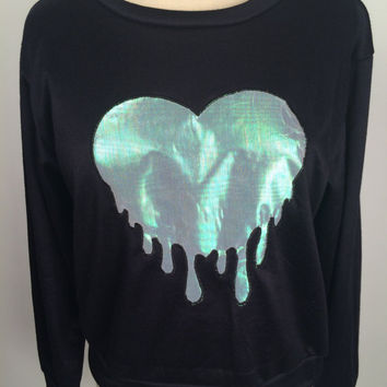 Iridescent drip heart black sweatshirt medium