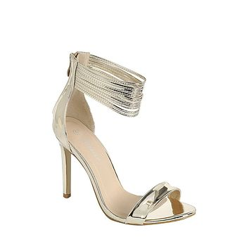 Gold Sophisticated and Chic Peep Toe Heel