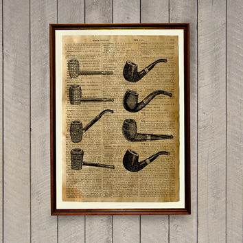 Smoking pipes poster Manly decor Dictionary print Vintage illustration