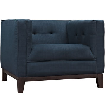 Modway Serve Armchair in Tufted Azure Fabric on Walnut Finish Legs