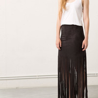 Zipper Back Fringed Maxi Suede Skirt