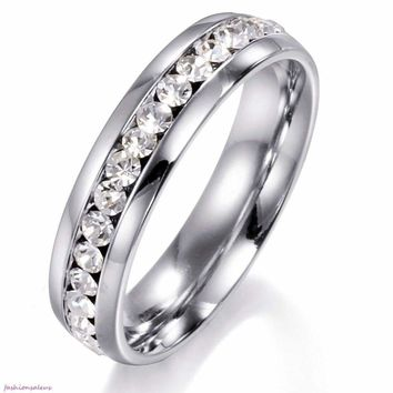 5mm High Polished Eternity Stainless Steel Love Ring Mens Ladies Wedding Band