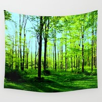 Sky Blue Morning Forest Wall Tapestry by Zurine