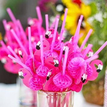 10pcs/pack Paper Drinking Straws Wedding Decoration Baby Shower Birthday Celebration Hawaii Carnival Party Supplies