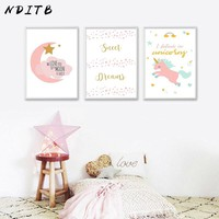 NDITB Kawaii Pink Unicorn Moon Canvas Poster Cartoon Nursery Wall Art Print Minimalist Painting Nordic Kids Bedroom Decoration