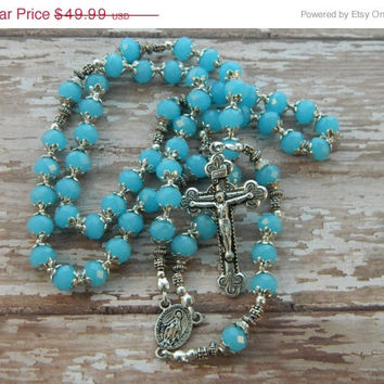 SALE 20% Off Rosary Blue Raspberry Crystal Beads with Miraculous Medal Center and Crucifix Religious Catholic Handcrafted Handmade