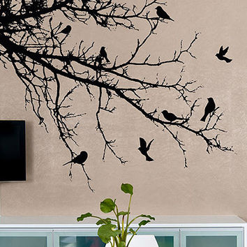 Vinyl Wall Decal Sticker Birds' Tree Branch #1002
