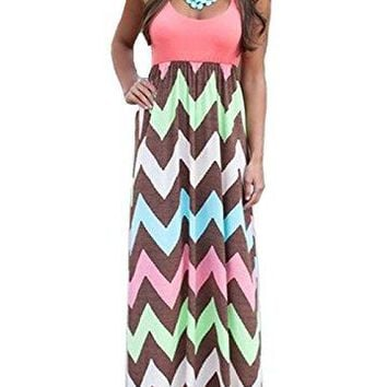 ReachMe Womens Summer Chevron Striped Print Dress Tank Long Maxi Dresses for Women