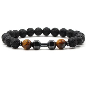 Black Dumbbell Lava Stone Tiger's Eye Beads Essential Oil Diffuser Bracelet