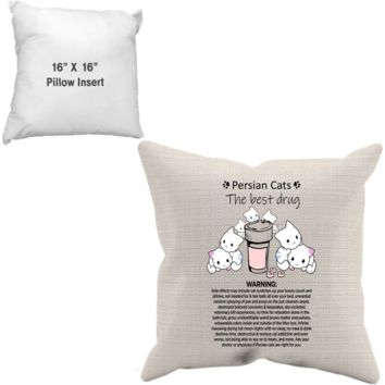Premium Custom Designed Pillow Case + Insert - Persian Cat Tharapy - Gift for Homemakers Who Love Decorating The Home With Kitty Cat + Surprise Bonus
