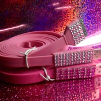 10 ft Extra Long Blinged out Pink iPhone Charger Cable Cord