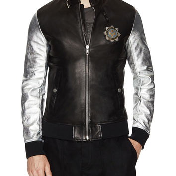 Diesel Black Gold Men's Lopoint Leather Bomber Jacket - Black -
