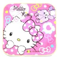 Tiny Hello Kitty and Teddy Bear Polka Dotted Print Handkerchief Face Towel in Dark Pink