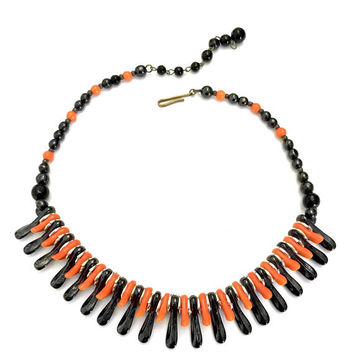 Mod West Germany Glass Necklace, Black and Orange Glass Dangles & Beads, Metal Spacers, Dimension and Layers, Vintage Necklace, Marked