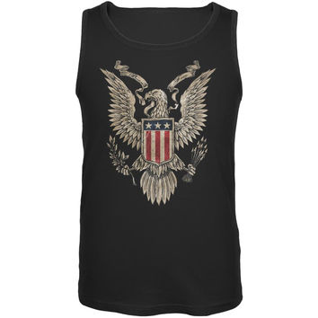 4th July Born Free Vintage American Bald Eagle Black Adult Tank Top