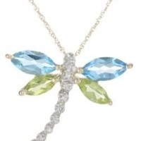 Yellow Gold, Gemstone, and Diamond Dragonfly Pendant Necklace, 18""
