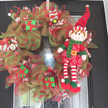 XL Christmas Wreath with Elf, Christmas Decoration, Christmas Door Hanger