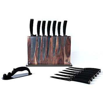 Schmidt Brothers Cutlery Titan 15-Piece Knife Set - Black