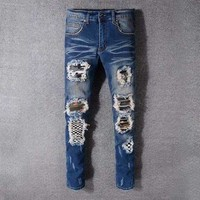 ONETOW style 521 fear of godMens distressed embellished ribbed stretch moto pants biker jeans slim trousers size 28 42
