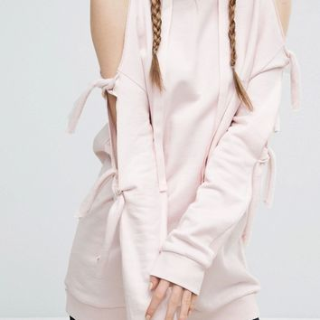 ASOS Hoodie With Knot Detail And Cold Shoulder at asos.com