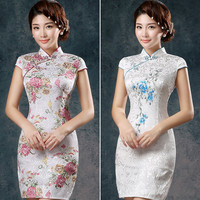 Women Chinese Traditional Clothes Dress Cheongsam Qi Pao Silk Embroidery Orchid Peony Flower Printing Mini Short Cheongsams