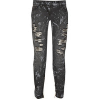Balmain Low-rise distressed cropped jeans