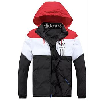 ADIDAS Winter Trending Women Men Embroidery Print Warm Hoodie Zipper Cardigan Jacket Coat(Two Side Wear Reversible) Black
