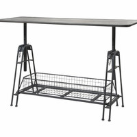 Henry Adjustable Metal Work Table Attached with Wire Mesh Storage