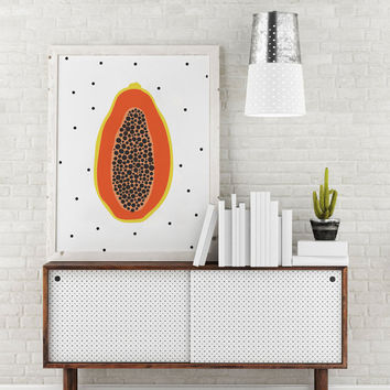 Papaya Poster, Fruit Poster, Papaya Art Print, Fruit Illustration, Decorative Art, Kitchen Art, Botanical Wall Decor, Kitchen Wall Art.