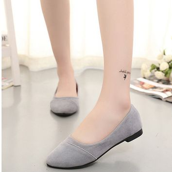 Simple Korean style Women Pointy Comfort Flat Shoes Girls Ballet Shopping Moccasins Solid Ballerinas Casual Shoes black pink