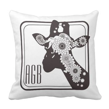 Funny Cool Giraffe Animal Black and White Monogram Throw Pillow