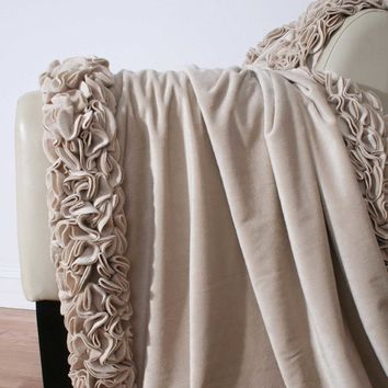 Regal Ruffle Microplush Throw - Deep Taupe