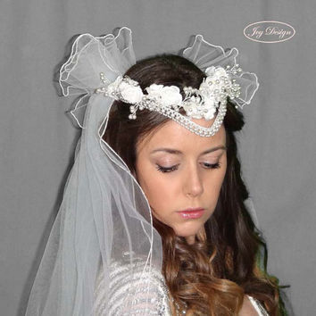 SERENITY is a Curated Vintage Never Worn White Tulle Fabric Triple Bridal Veil with Vintage Pearl and Floral Wreath Head Piece