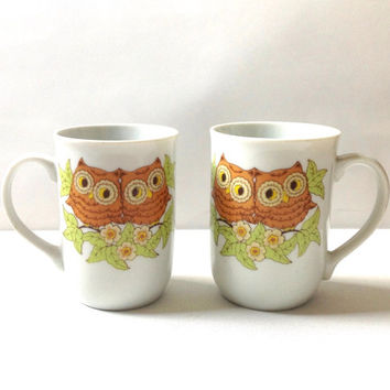 Owl Coffee Mug Set - White Owl Coffee Cups - Vintage Owl Mugs - Kitsch Owls Decor