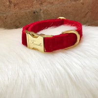 "Adjustable dog collar ""Red velvet"""