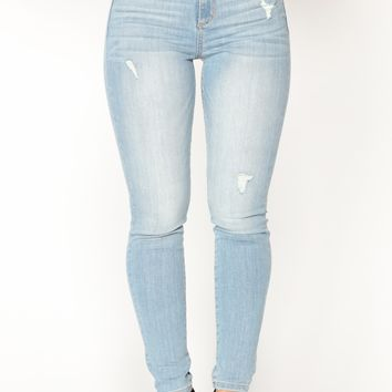 Caught Myself Skinny Jeans - Light Blue Wash