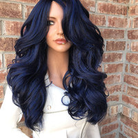 """Blue Thick Human Hair Blend 26"""" Loose Curl Lace Front Wig"""