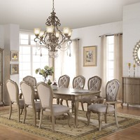 7 pc Chelmsford collection antique taupe finish wood and beige fabric chairs dining table set