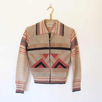 Vintage 1970s Collage Rocker / Boho Suede & Knit Zip Up Jacket / Sweater