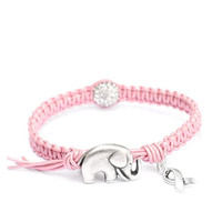 Breast Cancer Awareness & Good Luck Charm Bracelet - Pink Leather with Diamond Style Pave Ball, Ribbon Charm and  GOOD LUCK ELEPHANT