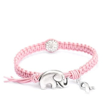 Breast cancer awareness amp good luck charm bracelet pink leather with