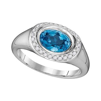 14kt White Gold Womens Oval Blue Topaz Solitaire Diamond Accent Ring 1-1-2 Cttw