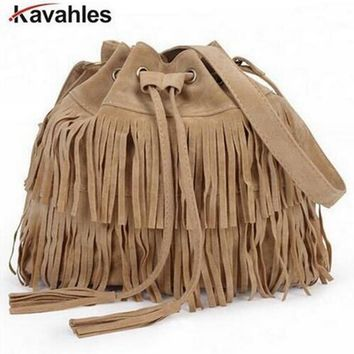 Women Suede Drawstring Bucket Bag Women vintage Handbag Faux Fringe Tassel Shoulder Cross bodybags lady Messenger Bag F40-792